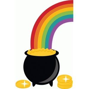 rainbow into pot of gold