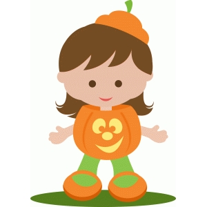 cute girl dressed as a pumpkin