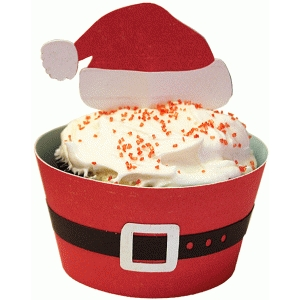 cupcake wrapper set: santa hat