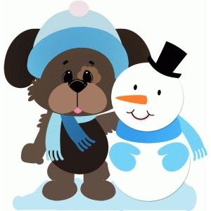 puppy dog with snowman