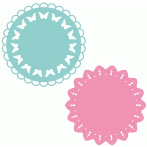 set of 2 butterfly doilies