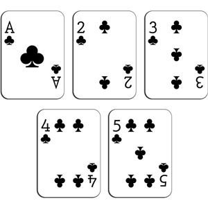 playing cards - clubs a-5