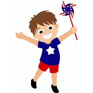 patriotic boy with pinwheel
