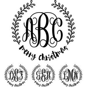 monogram basic script - merry christmas wreath