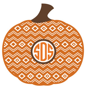 pattern pumpkin monogram frame