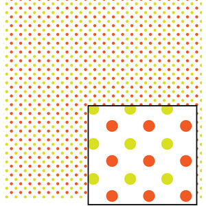 orange and green polka dot pattern