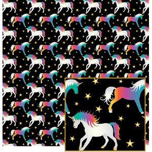 unicorns on black pattern