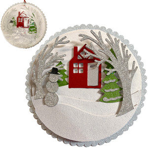 winter house scene ornament