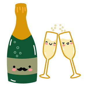kawaii french champagne bottle and glasses