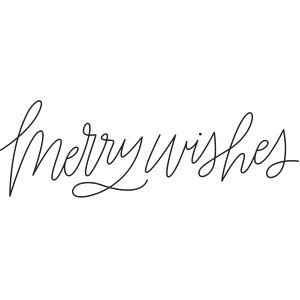 sketch handwritten merry wishes phrase