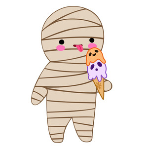 kawaii mummy eating icecream