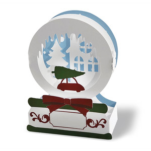 winter town snow globe box card