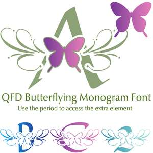 qfd butterflying monogram font