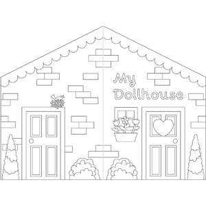 coloring book paper dollhouse exterior