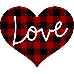 plaid love heart
