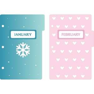 mini 3-ring binder decorative january & february dividers