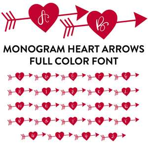 monogram heart arrows full color font