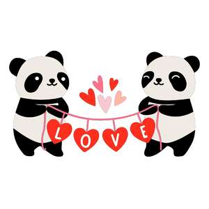 pandas with heart love banner