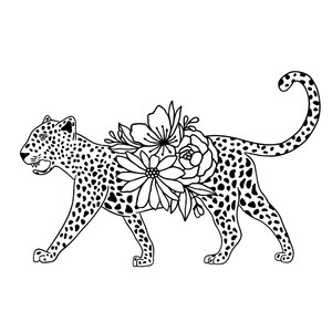 big cheetah cat with flowers