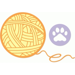 yarn and cat paw print
