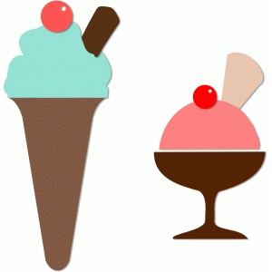 2 ice cream sundae set
