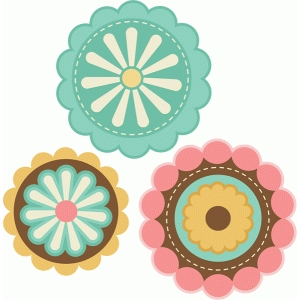 layered flowers set of 3