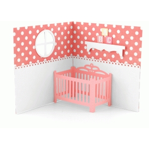 baby crib pop up card