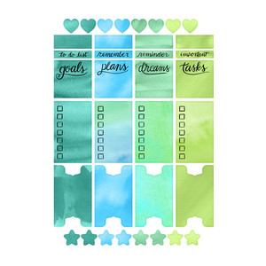 watercolor wash cool planner stickers