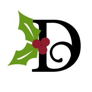 christmas holly monogram - d