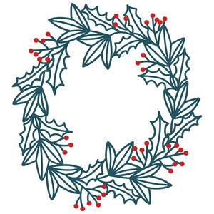 silhouette design store view design 233734 holly and ivy wreath