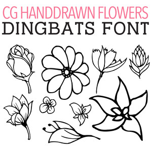 cg handdrawn flowers dingbats