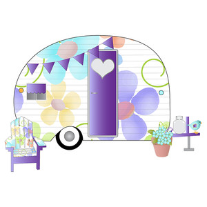 floral camping trailer