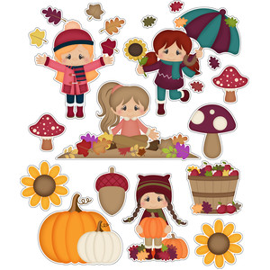 autumn girls playing in leaves stickers