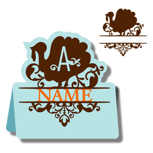 monogram place card & nameplate - turkey a