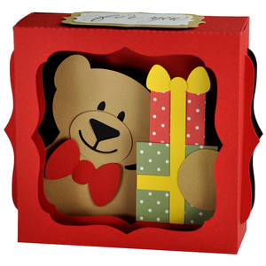 teddy with gifts gift card ornament