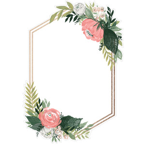 floral hexagon invite