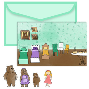 paper doll scene set - 3 bears