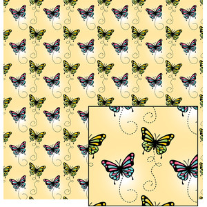 butterflies on yellow pattern