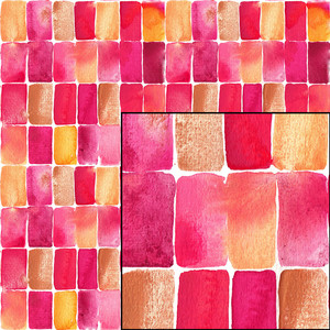 pink yellow watercolor geometric seamless pattern