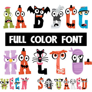 halloween squared color font