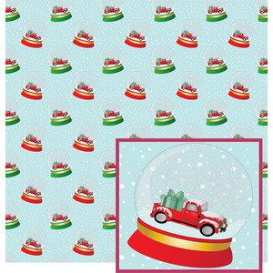 snow globe red truck pattern
