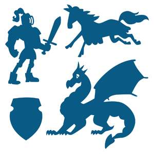 knights and dragons shadow puppet set