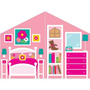 paper dollhouse flower bedroom