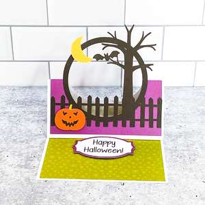 floating easel card halloween scene