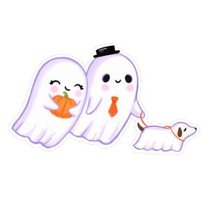 kawaii ghosts walking a dog