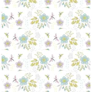 flowers and dragonflies pattern