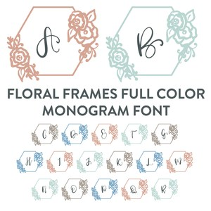 boho floral frame monogram full color font