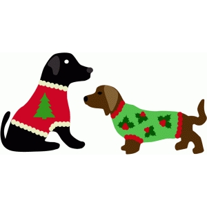 dogs in christmas sweaters