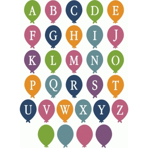 balloon stencil alphabet - uppercase