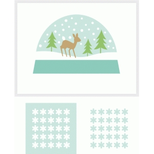 a2 deer + woods snow globe shaker card